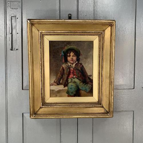 Antique Victorian oil painting portrait of young boy in hat signed JW Roberts 1887 (1 of 10)