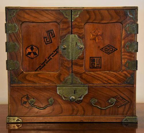 Excellent 19th Century Japanese Elm Jewellery Box/ Table Cabinet. (1 of 15)