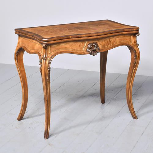 French Victorian Yew & Rosewood Fold-over Card Table / Games Table (1 of 11)