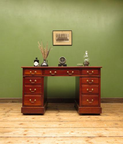 Handsome Antique Pedestal Desk with New Black Leather to Top (1 of 21)