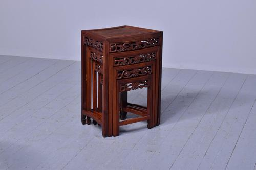 Nest of 3 Chinese Qing Dynasty Rosewood & Burr Wood Tables (1 of 11)