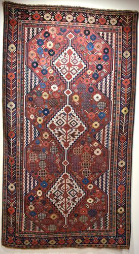 Antique Khamseh tribal rug 217x124cm (1 of 10)