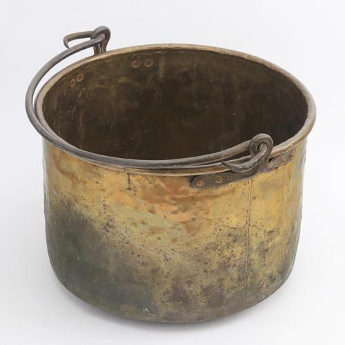 Large Age Patinated Brass Log Bin with Iron Swing Handle C1875 (1 of 9)
