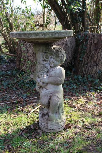 Composition Stone Cherub Bird Bath (1 of 3)