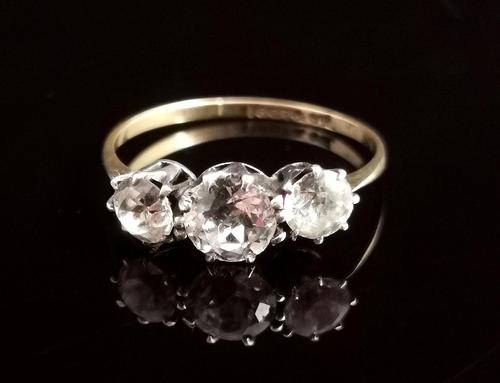 Antique Three Stone Paste Ring, 18ct Gold & Silver (1 of 11)