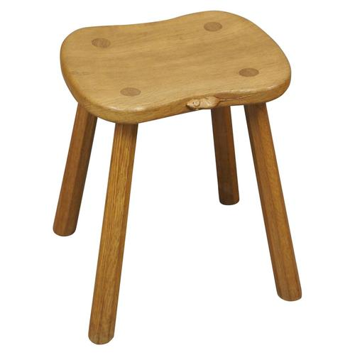Carved Oak Mouseman Stool (1 of 6)