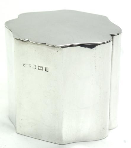English Antique Solid Silver Tea Caddy, Super Design Fresh & Clean c 1890 (1 of 7)