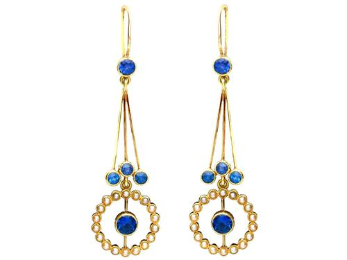 2.02ct Sapphire and Seed Pearl, 15ct Yellow Gold Drop Earrings - Antique Circa 1910 (1 of 9)
