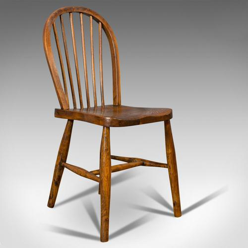 Antique Stick Back Chair, English, Elm, Beech, Station Seat, Victorian c.1870 (1 of 12)
