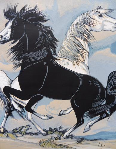 Watercolour & Ink Study of Stallions Artist Vigil (1 of 10)