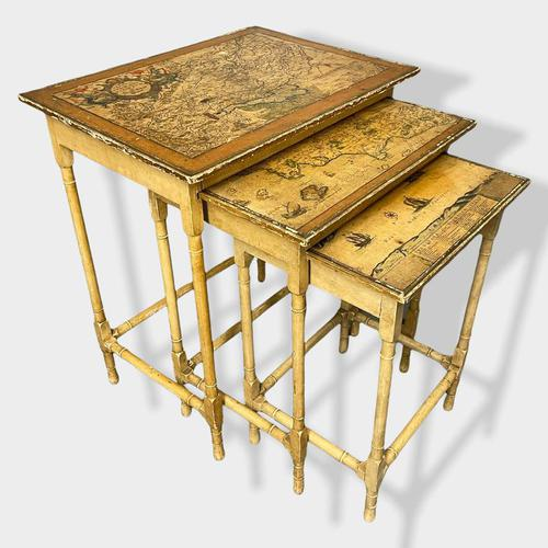 Italian Painted Nest of Tables with Map Prints (1 of 10)