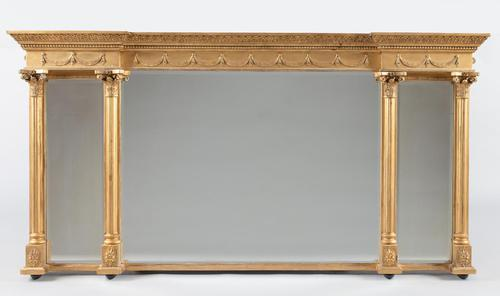 Late 19th Century Large Victorian English Gilt Triple Plate Overmantle Mirror (1 of 12)