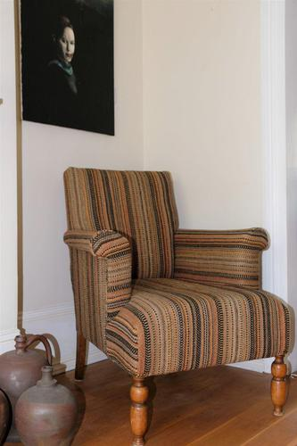 Antique Oak Legged  Afghan Kelim Covered Chair (1 of 10)
