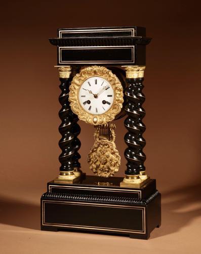 Original Ebonised & Brass Inlaid French Portico Clock c.1870 (1 of 7)
