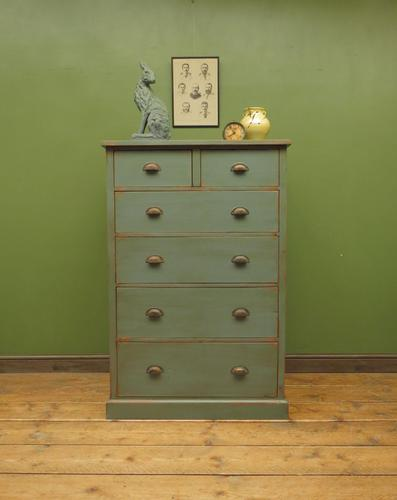 Large Painted Nautical Blue Rustic Pine Chest of Drawers, Shabby Chic (1 of 16)