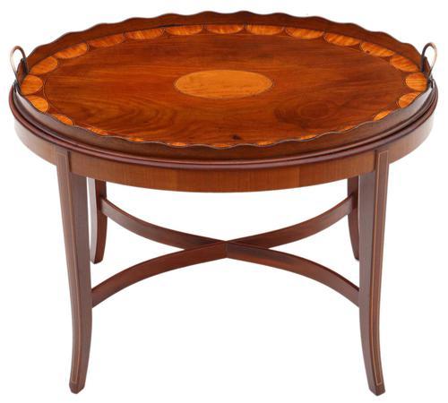 Edwardian Mahogany & Satin Walnut Tray on Stand Coffee Table c.1905 (1 of 7)