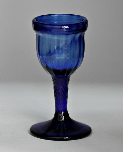 "Georgian, wrythen-moulded ""Bristol"" blue glass egg cup (1 of 3)"