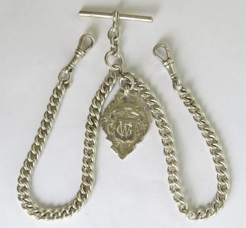 Antique Silver Double Pocket Watch Chain (1 of 5)