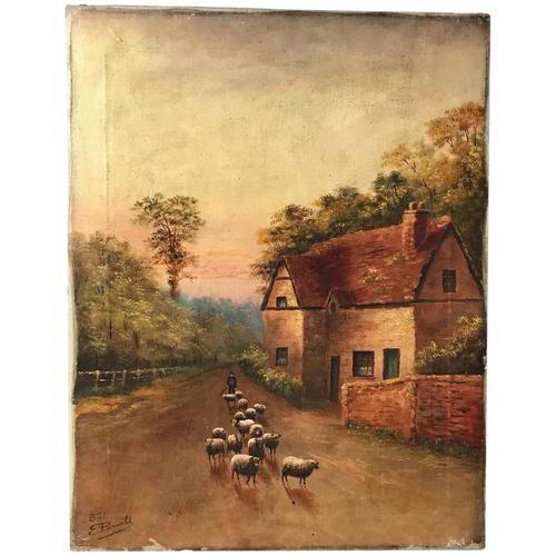 Victorian Oil Painting Shepherd & Flock Of Sheep Circa 1891 (1 of 13)