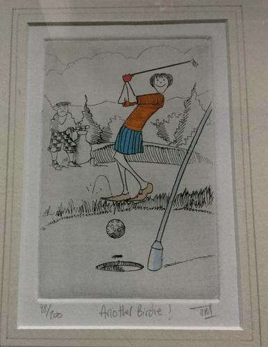 Coloured Engraving of Golf 'Another Birdie' (1 of 2)