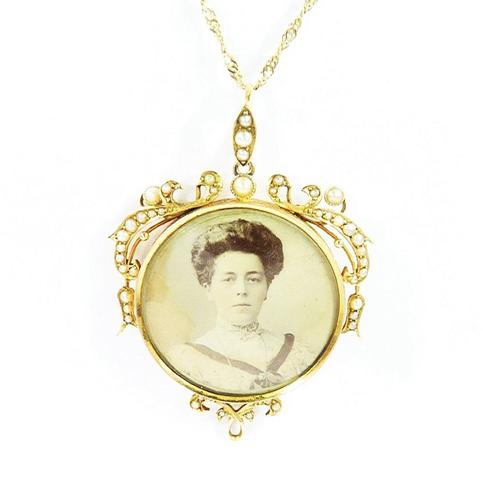 15 Carat Gold Seed Pearl Edwardian Portrait Locket with Necklace (1 of 9)
