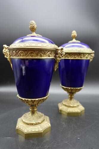 Good Pair of Late 19th Century Sèvres Type Porcelain Lidded Vases (1 of 8)