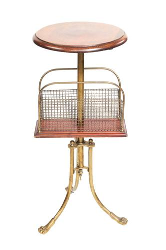 Victorian Brass  & mahogany Revolving magazine stand Hall & son Patent (1 of 8)