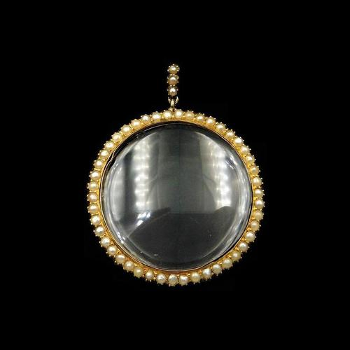 Antique Pearl Round 9ct Gold Shaker Locket Pendant (1 of 8)