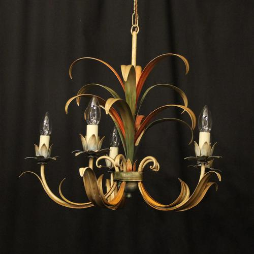 French Polychrome Toleware 5 Light Chandelier (1 of 10)