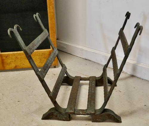 19th Century Blacksmith Made Inglenook Iron Log Carrier (1 of 7)