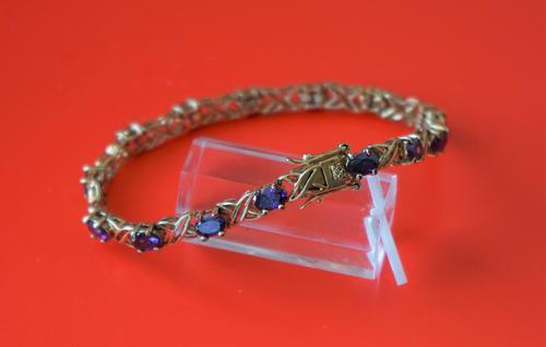Vintage Exquisite Gold Amethyst Gem Set Link Bracelet - Boxed / Ideal Gift (1 of 11)