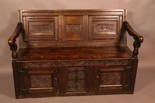 Antique Oak Settle (1 of 11)