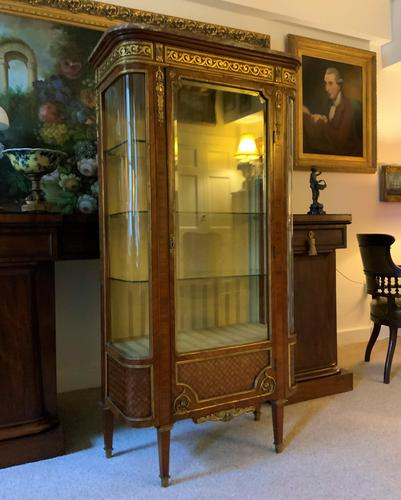 Exceptional 19th Century French Kingwood Parquetry Gilt Metal Vitrine Display Cabinet (1 of 17)