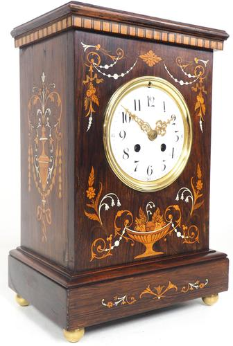 Incredible Rosewood Cased Mantel Clock with Multi Wood & Mother of Pearl Inlay 8–day Striking Clock (1 of 12)