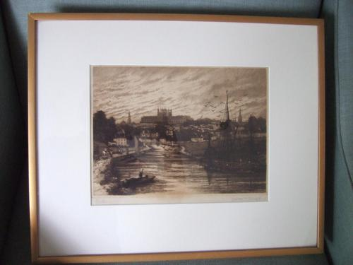 Walter W Burgess Etching of Exeter Dated 1888 (1 of 5)
