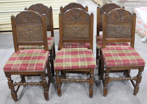 1900s -Set of 6 Oak Quality Carved Dining Chairs with Tartan Cushions (1 of 4)