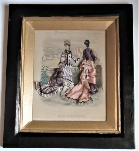Antique Victorian 3-D Fashion Picture, Textile And Print, Original Frame, 1877 (1 of 8)