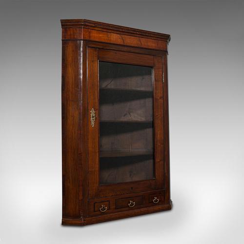 Antique Corner Cabinet, English, Oak, Flame Mahogany, Cupboard, Georgian c.1800 (1 of 12)