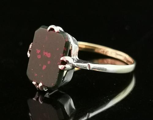 Vintage Art Deco Bloodstone Ring, 9ct Gold & Silver (1 of 12)