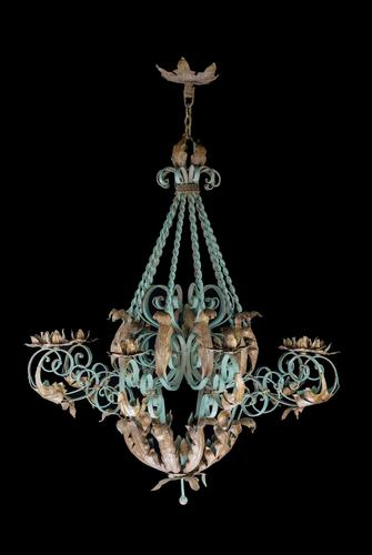 Early 20th Century Polychrome Wrought Iron Chandelier (1 of 6)