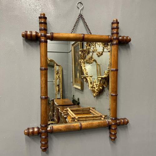 French Cherrywood Faux Bamboo Mirror (1 of 5)