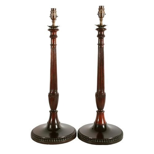 Pair of Mahogany Candlestick Lamps (1 of 8)