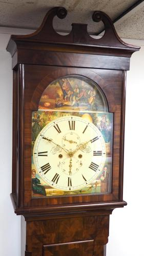 18th Century Scottish 8 Day Longcase Clock Flame Mahogany Painted Dial Grandfather Clock (1 of 7)