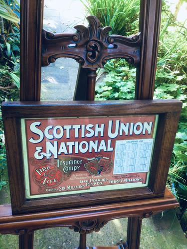 Original 1902  Vintage Framed Poster & Calendar,  Scottish Union & National Insurance Company (1 of 11)