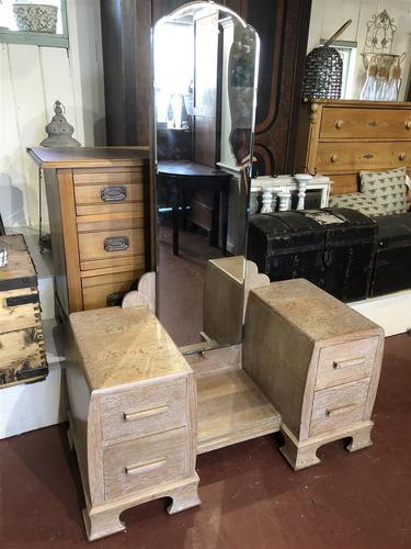 Limed Oak Art Deco Dressing Table Vanity Stand (1 of 11)