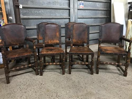 Set of 6 Antique Leather Studded Chairs (1 of 4)