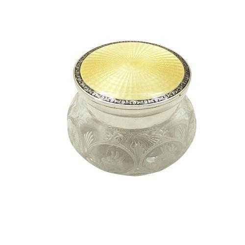 Sterling Silver & Yellow Enamel Lid Vanity Jar 1928 (1 of 10)
