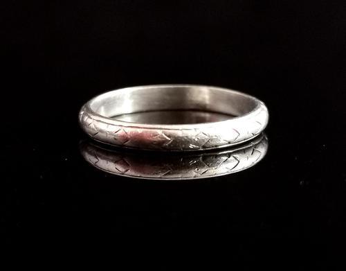 Art Deco Platinum Wedding Band, Engraved (1 of 10)