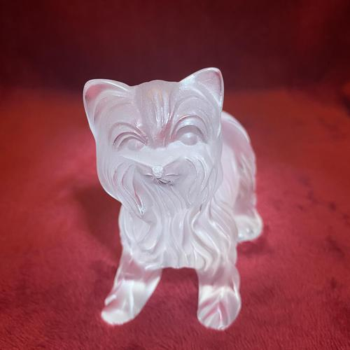 Lalique Sculpture of a Yorkshire Terrier Modelled in clear & frosted glass (1 of 5)
