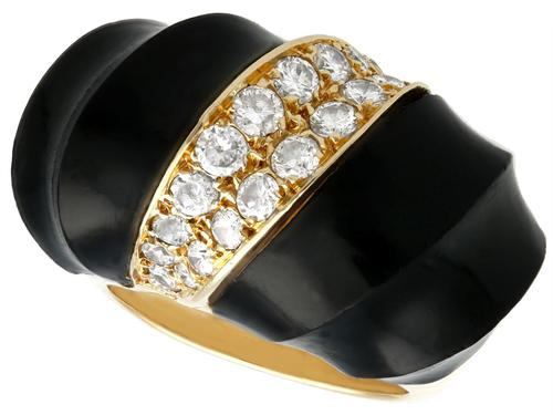 Onyx and 1.06 ct Diamond, 18 ct Yellow Gold Dress Ring - Vintage Circa 1960 (1 of 9)